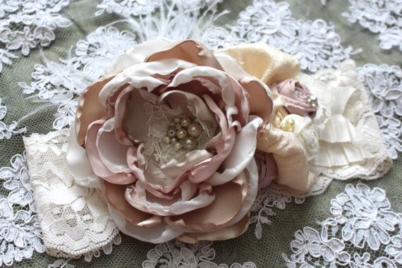 Ivory Champagne Blush Headband Over the Top by AldonasBoutique,