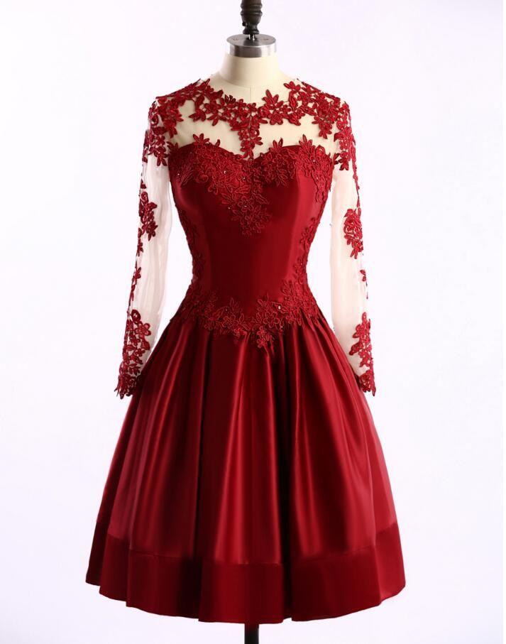 Long sleeve Prom Dresses, Red Prom Dress, Lace Prom Dress, 2016 Prom Dress…