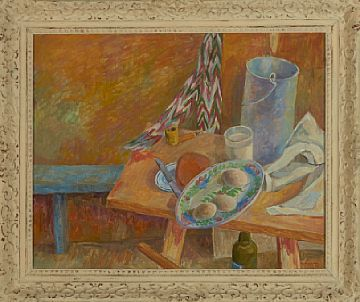 ALF-JØRGEN AAS TRONDHEIM 1915 - ASKER 1981  Oppstilling med frokostbord, 1942 Olje på plate, 49x61 cm Signert og datert nede til høyre: Alf-Jørgen Aas 1942