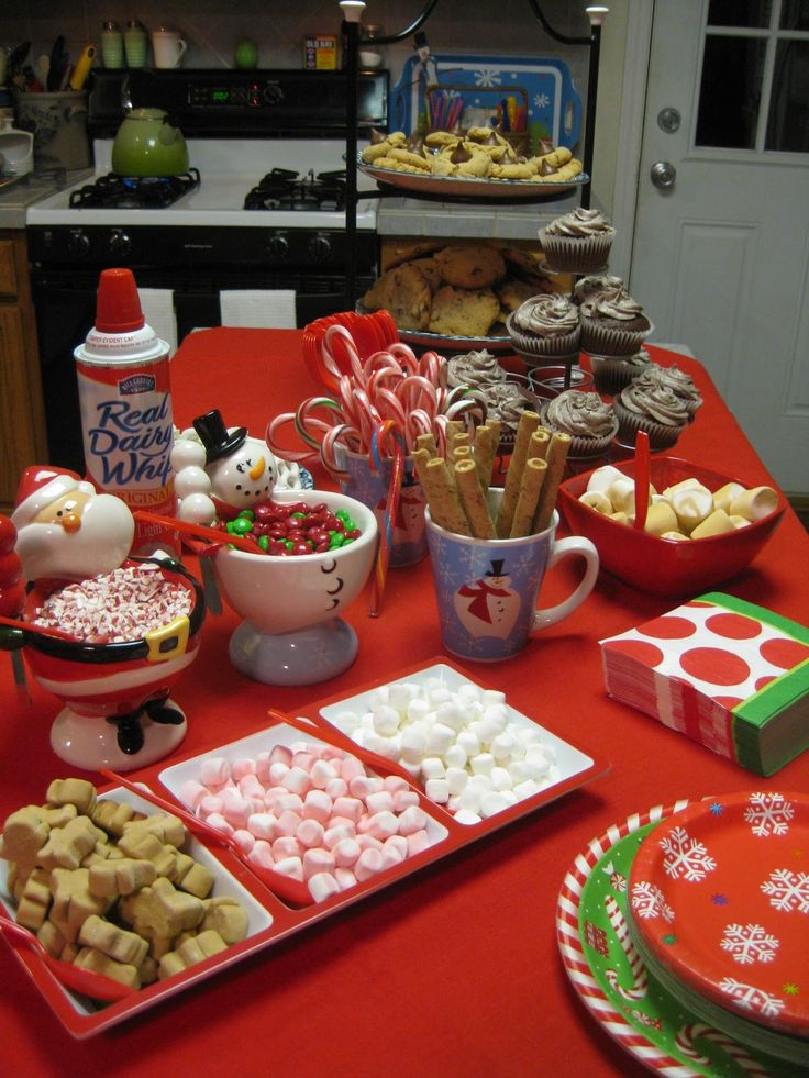 Hot Chocolate Bar --including link to recipe for crockpot hot chocolate (heavy cream, sweetened condensed milk, choc chips...). I also saw one that had the whip cream tinted different colors, which I though would be kind of fun and super easy
