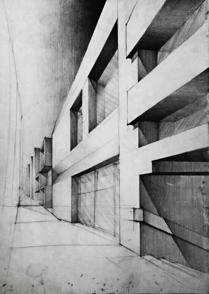 Architecture sketches made on 70cm x 50cm paper on Behance