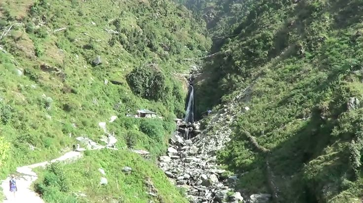 Bhagsu Waterfall close to Mcleod Ganj. Picture taken from a distance to see the surrounding area.  Video here:https://www.youtube.com/watch?v=kvXwqlrffz8