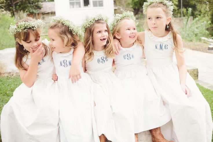 The sweetest little flower girls | A monogram theme wedding - 15 Ways to Use Monograms : https://www.fabmood.com/monogram-theme-wedding: