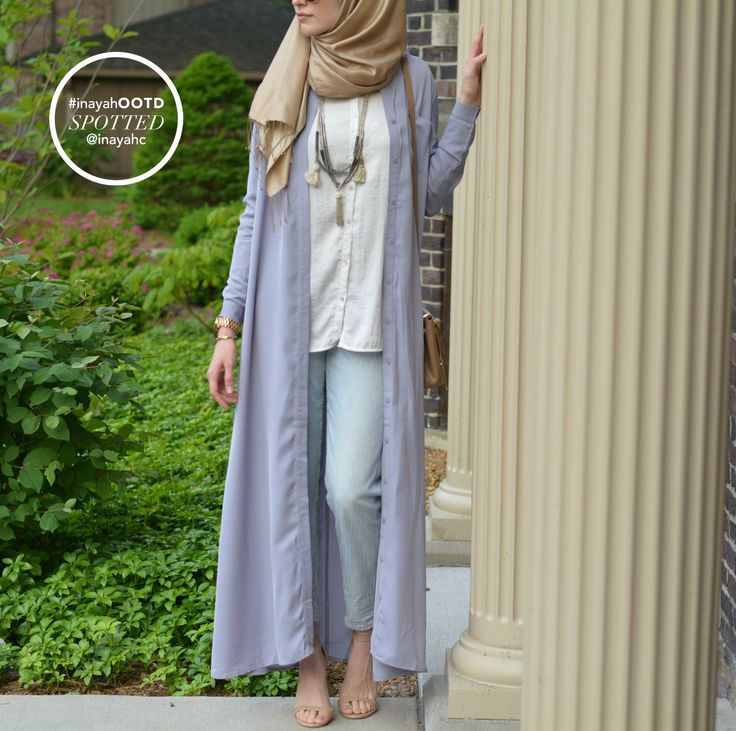 SPOTTED: Pale Blue Long Shirt Abaya on @elifdogan  www.inayahcollection.com