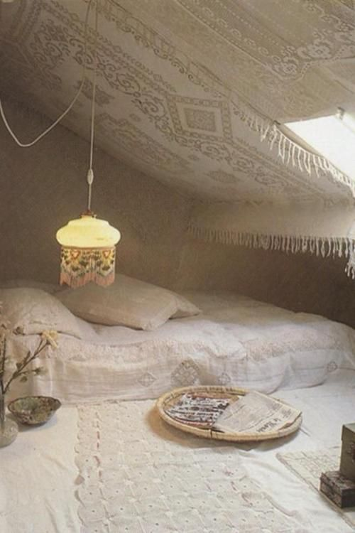 bohemian interiors | Tumblr. Weird lace on the wall/ceilings?