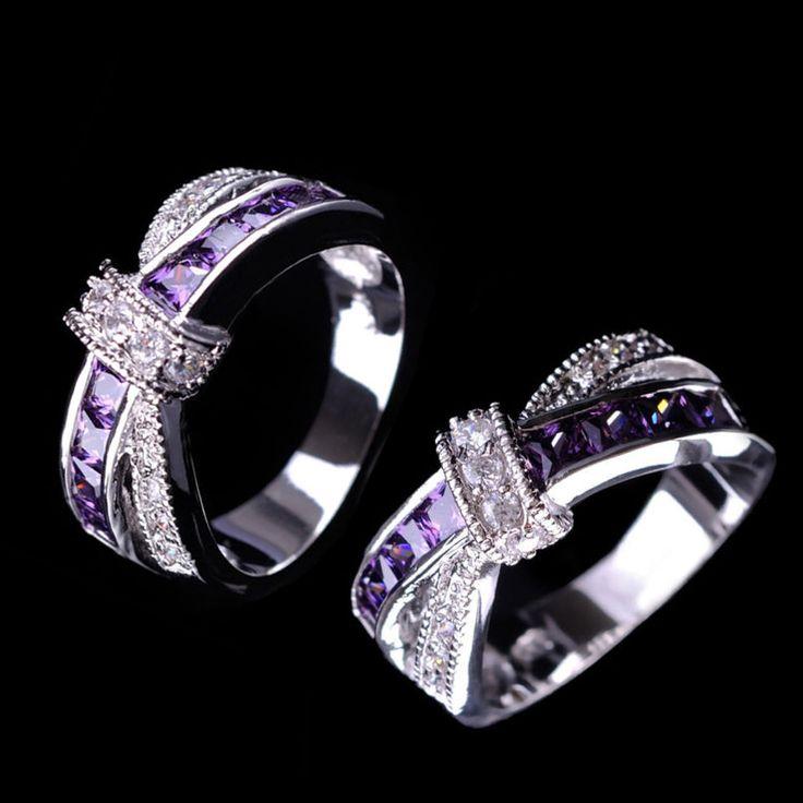 2016ファッションアメジストクロス指リング用レディクリスタル高級ホットプリンセス女性ウェディング婚約リング紫