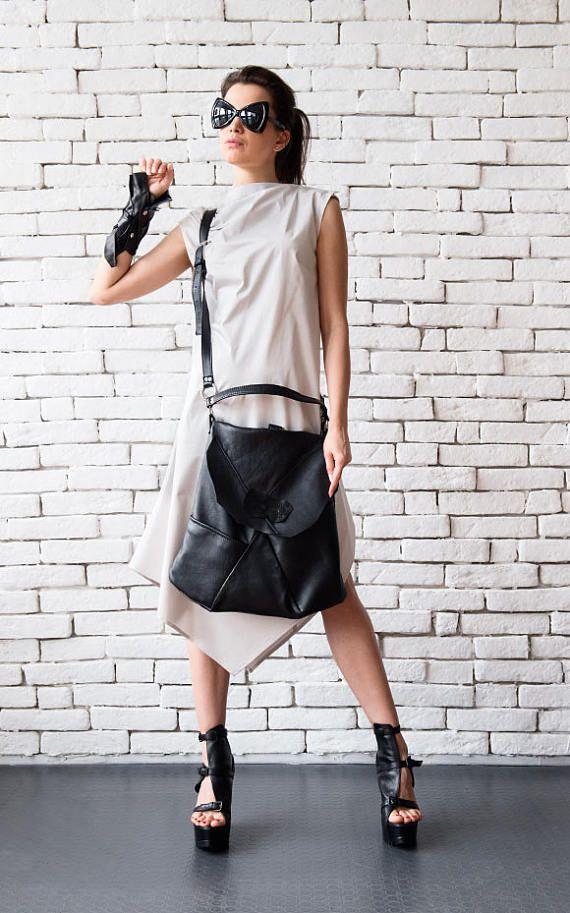 Asymmetric black <b>genuine leather</b> bag - METB0021 A brand <b>new</b> ...