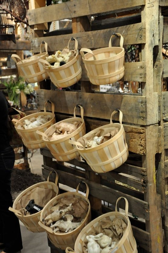 produce baskets & pallets...cheap display idea.