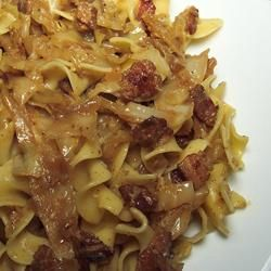 Fried Cabbage with Bacon, Onion, and Garlic...served over egg noodles!