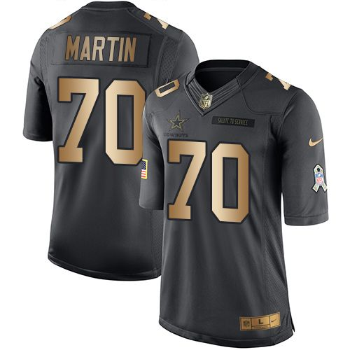 Nike Dallas Cowboys Men's #70 Zack Martin Limited Black/Gold Salute to Service NFL Jersey