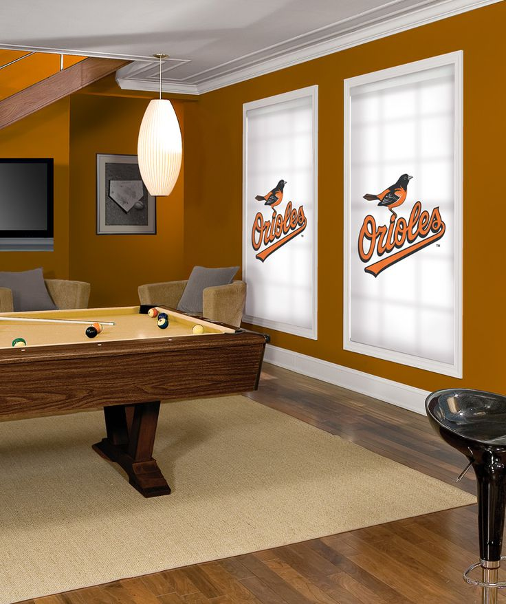 Baltimore orioles window roller shades for your man cave for Man u bedroom ideas