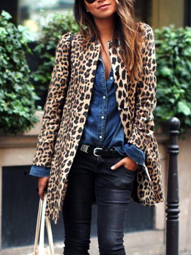 Manteau léopard imprimé manches longues -jaune 31.43