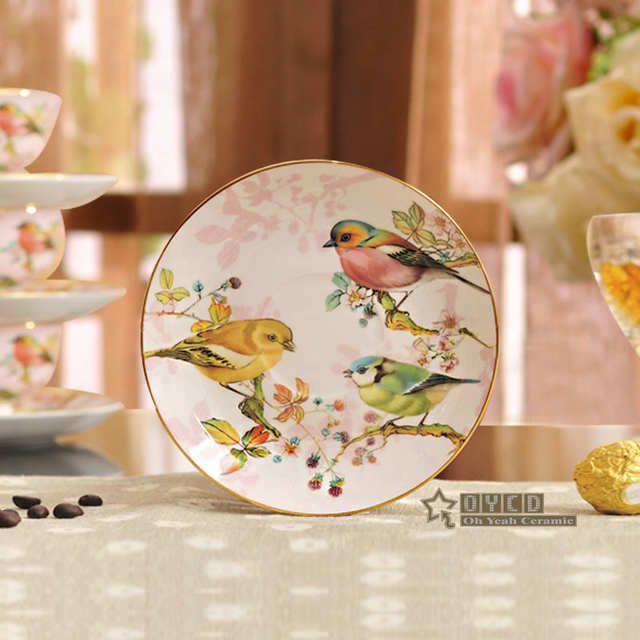 Porcelana Xicara De Cha E Pires De Porcelana Ultra Fino Flores E Padrao De Aves Design De Contorno Em Ouro Xica Ceramica Vintage Xicaras De Porcelana Porcelana