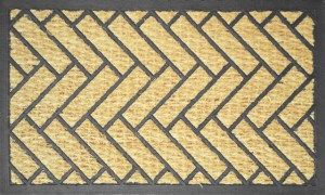 Резиновый коврик с кокосовой щетиной  в прихожую КК 14 паркет елочка