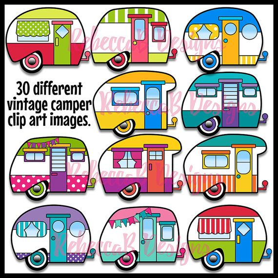 This set of Vintage Camper Clip Art contains 36 images. 30 colored plus 6 black and white. Images are approx. 4-5 inches wide. The Vintage Campers come in many retro color combinations with random patterns and some have pennant banners draped across the top. Vintage Camper Clip