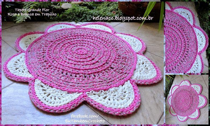 Tapete Grande Flor Rosa e Branca em Trapilho                                                                                                                                                                                 Mais