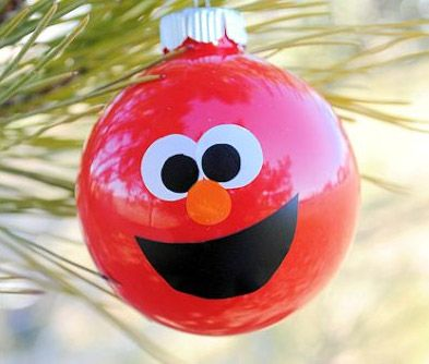 bolas arbol navidad dibujos, barrio sesamo - DIY navidad niños