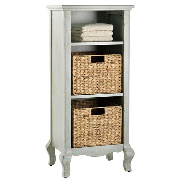 This little table with baskets for storage would be perfect for a tight corner in a bathroom or even as a bedside table.