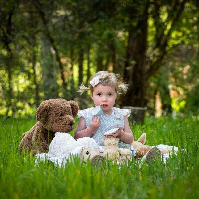Little girl photoshoot teddy picnic