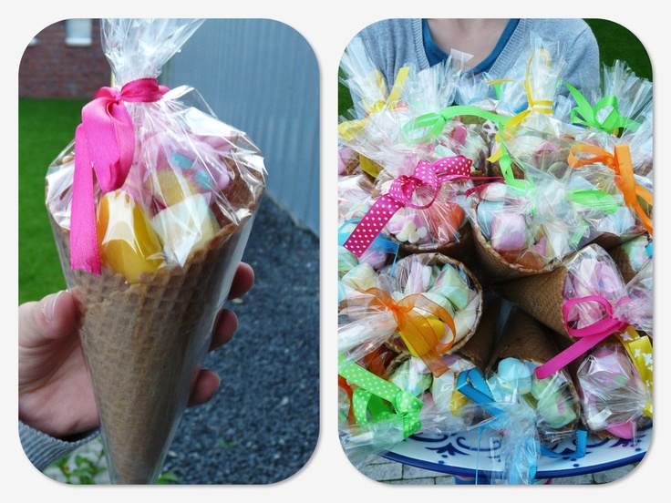 Candy in a cone; great treat for school