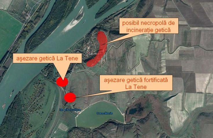 Aşezare getică La Tene şi aşezare getică fortificată La Tene amplasate la o distanţă ceva mai mare de un kilometru faţă de coama dealului Seimeni.