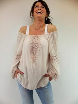 Bohemian Ibiza blouse top Monton - Zacht roze www.lovemfashion.nl