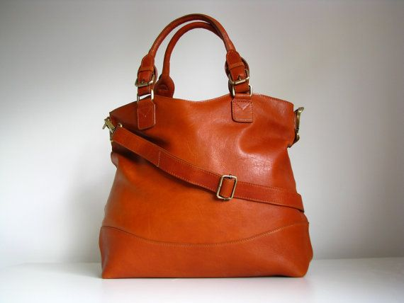 Tan Leather Handbag Tote Purse