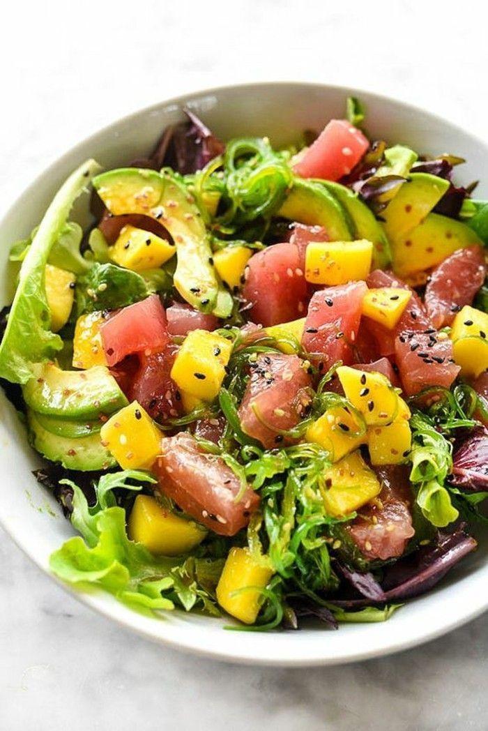 Abnehmen essen Salat und Fisch