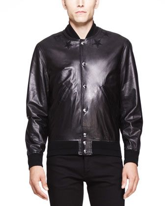$3,225, Black Leather Bomber Jacket: Givenchy Star Detail Leather Bomber Jacket Black. Sold by Bergdorf Goodman. Click for more info: https://lookastic.com/men/shop_items/57945/redirect