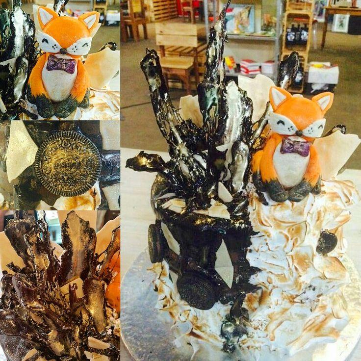 Fox cake Chocolate cake, chocolate mousse, Italian meringue, black sugar shards  Fox figurine