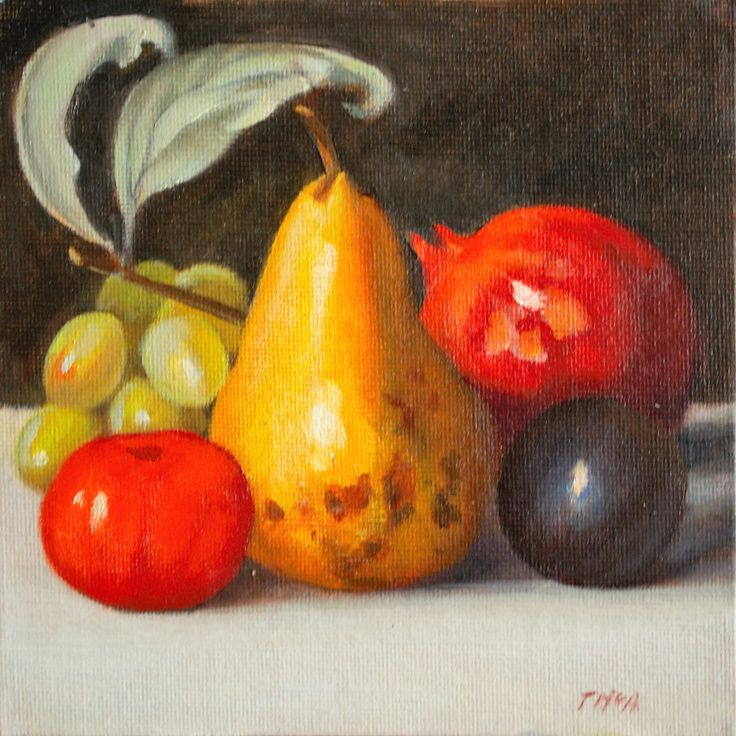 Pear with Fruit, Fine Art,   realism, contempory oil painting by ArtStudioTherese on Etsy