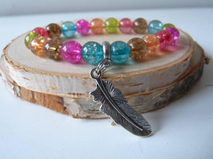 Multicolor Quartz bracelet with feather charm, Watermelon Tourmaline Quartz Stretch Bracelet, Energy Crystal, Semi-precious bracelet by nkcraftstudio on Etsy