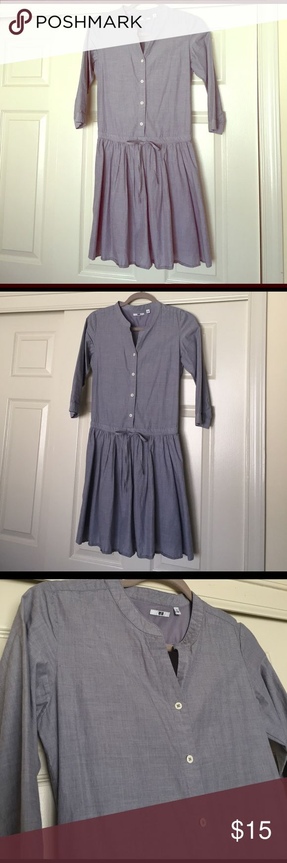 Uniqlo chambray 3/4 sleeve dress EUC. No stains/marks/holes. China collar. 3/4 sleeve length. Button up shirt dress. Waist is adjustable with draw string. Bottom skirt lined - no see through. Perfect for spring! Uniqlo Dresses Midi