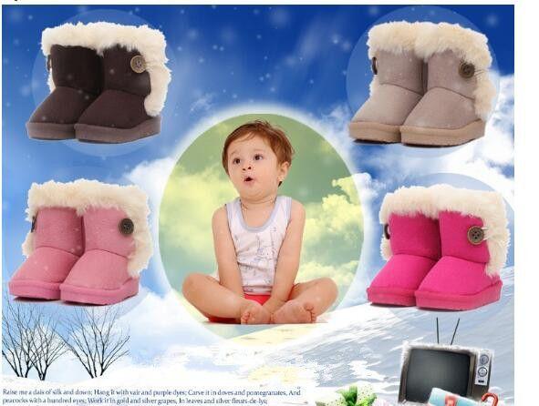 Baby Boots Winter Burst Child Snow Boots Children Warm Bowknot Woolen Infant Crib Boys Girls Fur Winter Snow Shoes