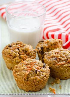 Clean Eating Carrot Oatmeal Muffins -- No special grocery trip muffins with no oil and only wholesome ingredients.
