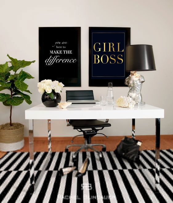 Black and white office inspiration, girl boss gold foil print and white desk with black lamp