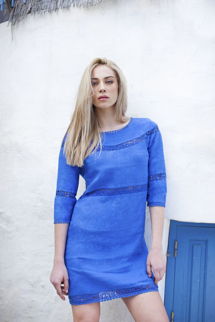 Haris Cotton,Linen Dress with Cotton Lace 1302 Cobalt Blue