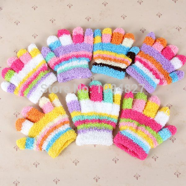 Дети Мальчик Радуга Теплые Зимние Перчатки Малыш Девочка Вязания Полный Пальцев Мягкие Варежки