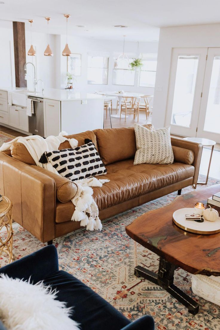 loving this gorgeous tan leather sofa in our new living ...