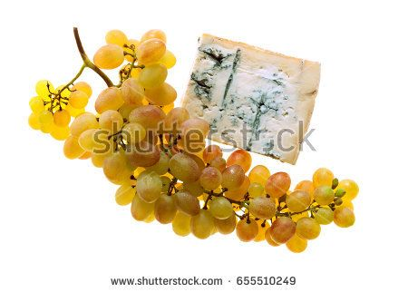 Italian Gorgonzola cheese isolated on white and Sicilian grapes