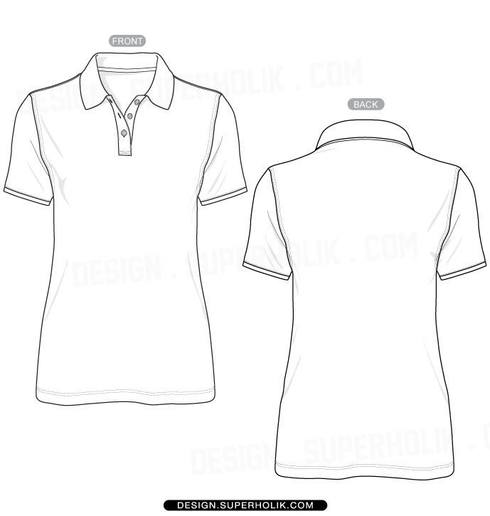 Fashion design templates, Vector illustrations and Clip-artsWomen's Polo Shirt Template - Fashion design vector body sketch form