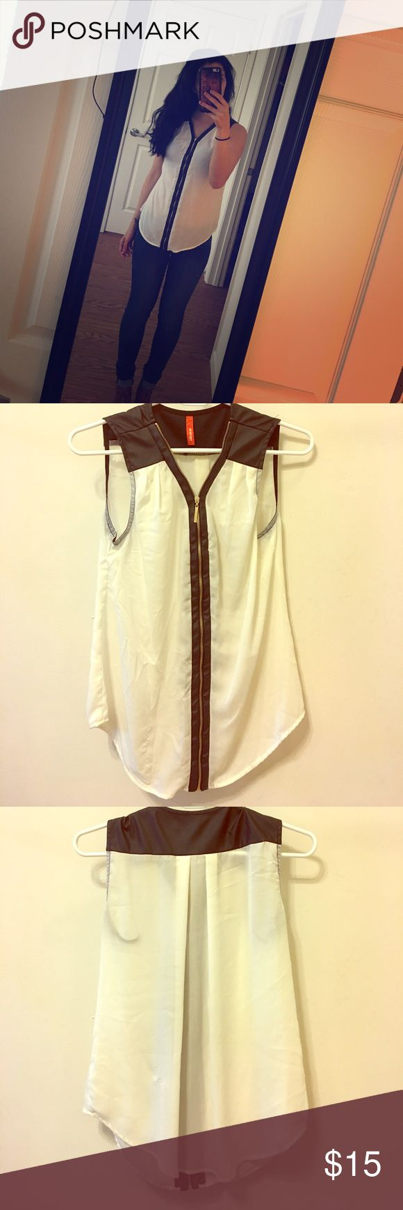 Black and White Zip Up Blouse Sheer Zip Up Blouse w/ Leather Tops Blouses
