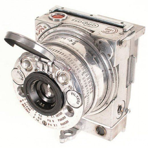 1937 The ultimate gadget of 1930s: Jaeger LeCoultre Compass. This compact 35mm camera was one of the most technically advanced gadgets of 1930s. It was produced by Swiss watch and clock manufacturer, also famous for its long-time partnership with luxury car makers. Jaeger LeCoultre sign can be found on the instrument panels of Bentley, Aston Martin, Lancia Astura, Delahaye, etc.