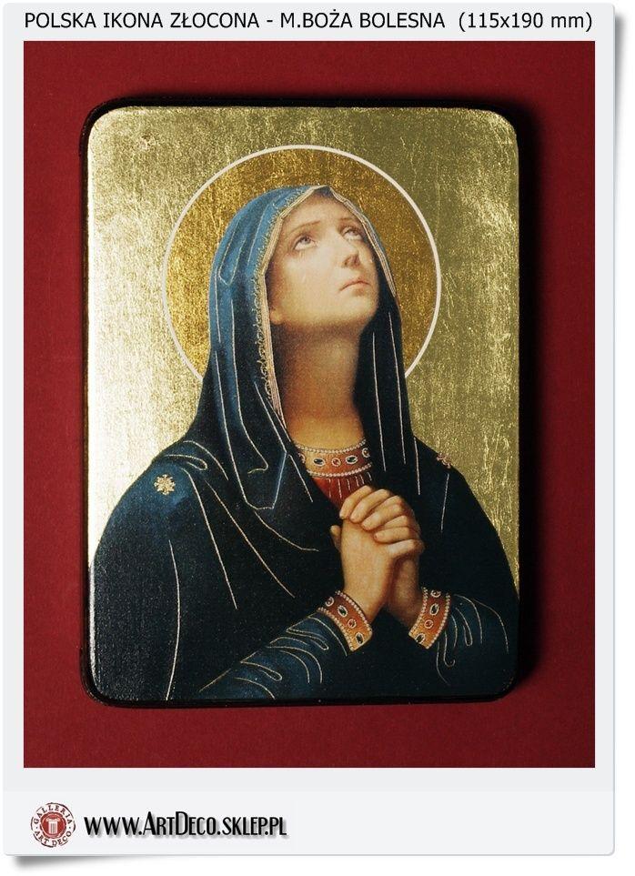 Polska ikona złocona Matka Boża Bolesna