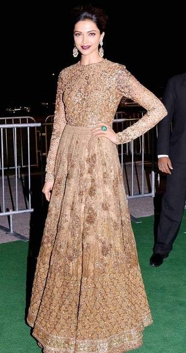 Deepika Padukone in a Sabyasachi Gold Blush Anarkali  #091 #ohnineone #anarkali #suit #designer #celebrity #sabyasachi #deepikapadukone #trendy #glamous #gold #bling #shimmer