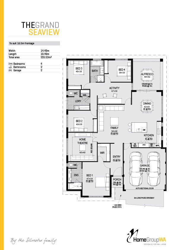 The Grand Seaview display home floor plan - only at Home Group WA.