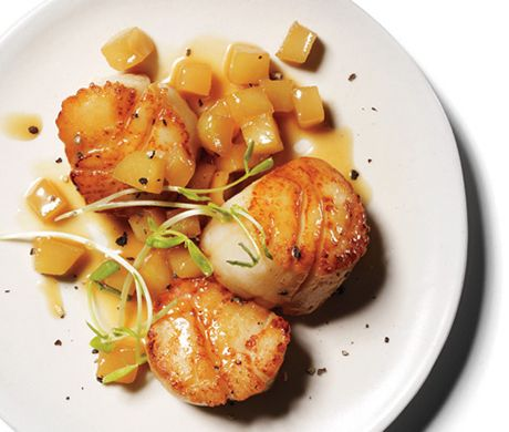 Find the recipe for Scallops with Apple Pan Sauce and other shellfish recipes at Epicurious.com