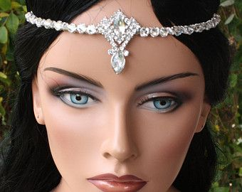 Gorgeous Bridal Head Circlet/ Head Piece with Rhinestones and Crystals, Large Centerpiece