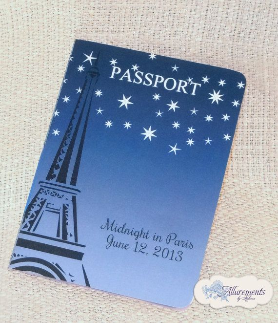 Midnight In Paris Passport Invitation  by AllurementsByRebecca, $50.00
