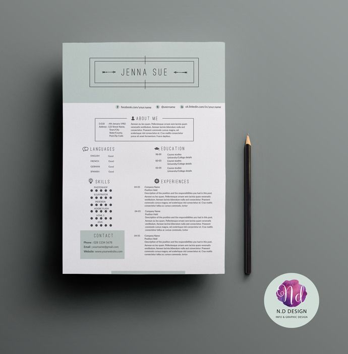 professional chic elegant resume package cv template cover letter template references - Template Cover Letter For Resume